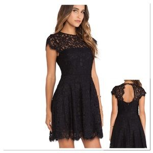 BB Dakota Black Shirtsleeve Lace Mini Dress